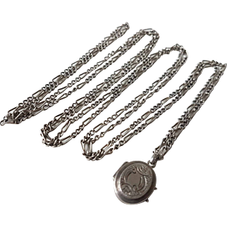 Antique French Silver Long Guard Chain Necklace + Locket Charm