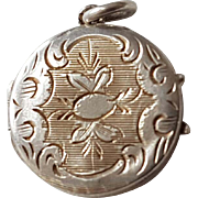 Small Antique French Engraved Silver Locket Photo Reliquary Charm