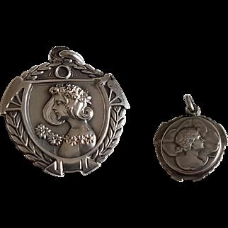 Antique Art Nouveau Silver Slide Mirror Charm Locket Pendant
