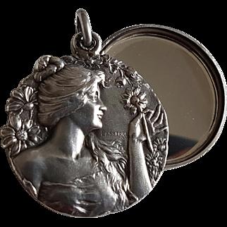 Antique French Art Nouveau Silver Slide Mirror Locket Pendant Signed Lasserre Lady Daisy Flowers