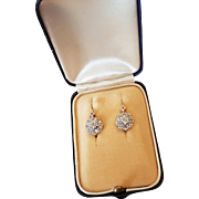 Vintage French Art Deco 18 k White & Rose Gold Roses Diamond Dormeuse Leverback Earrings