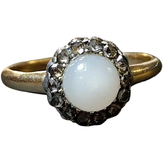 Antique French Victorian Diamond & Opaline 18k Gold & Silver Cluster Ring