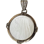 Vintage French Art Deco 18k White Gold Mother of Pearl Saint Fabiola Medal Pendant with Roses Diamonds