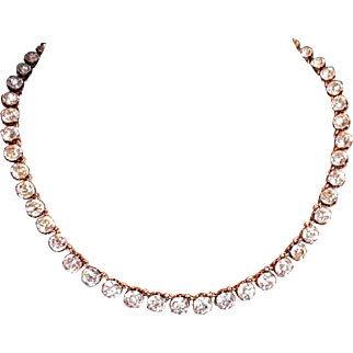 Antique French Parisian Late Victorian Silver & Gold Paste Riviere Necklace