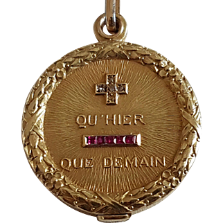 Vintage French 18k Gold Rose Diamond Ruby Love Token Sliding Locket Medal Pendant Qu'Hier Que Demain AUGIS With Its Chain