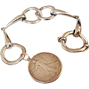 Vintage French Silver Horse bit Bracelet With Half Dollar Coin dated 1943