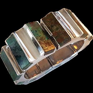 Vintage 1950' Mexican Taxco Silver Ledesma Signed Azurmalachite Bracelet