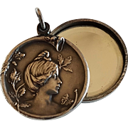 Antique French Art Nouveau Lady with Oak Tree Silver Plated Slide Mirror Locket Pendant