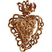 Vintage French Christian Lacroix Signed Flaming Heart Brooch