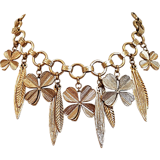 Vintage French Yves Saint Laurent YSL Shamrock Haute Couture Necklace