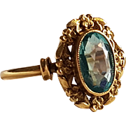 Antique French Victorian 18k Gold Garnet and Glass Doublet imitating Aquamarine Ring