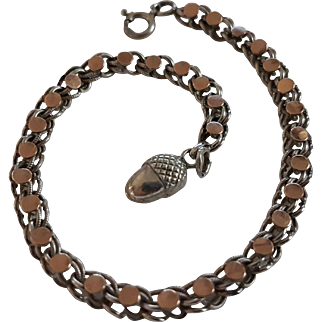 Victorian Antique French Silver & Rose Gold Bracelet With Acorn Fob Charm