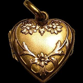 Antique French Art Nouveau 18k Gold Filled Heart Shape Locket Pendant