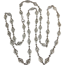 Antique Silver Filigree Chain Necklace French 29,13 inches