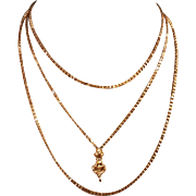 Antique French Gold Filled Long Guard Chain Necklace With Hand 55,9 inches