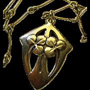 Antique German Jugendstil Art Nouveau Silver Pendant Necklace