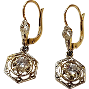Vintage French Art Deco 18k Gold White Sapphire Drop Dormeuse Leverback Earrings