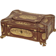 Chinese lacquered and gilt decorated sewing box