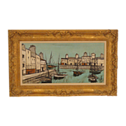 Charles Levier harbor scene painting