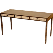 Zebra wood and faux shagreen writing table