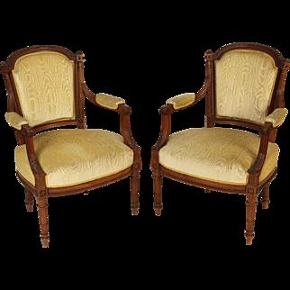 Pair of Louis XVI style armchairs