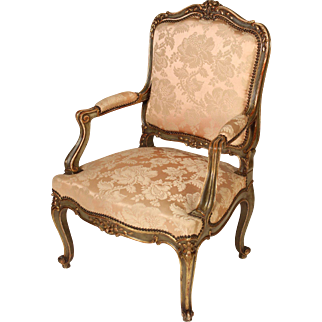 Louis XV style painted and partial gilt arm chair
