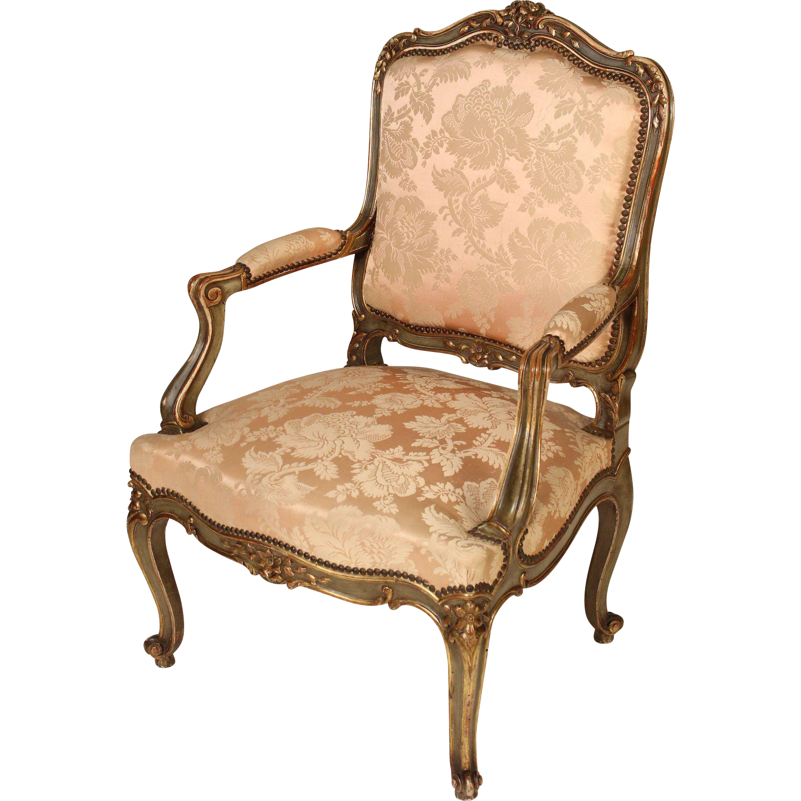 Louis XV Style Painted And Partial Gilt Arm Chair : Nicholsonu0027s Antiques |  Ruby Lane