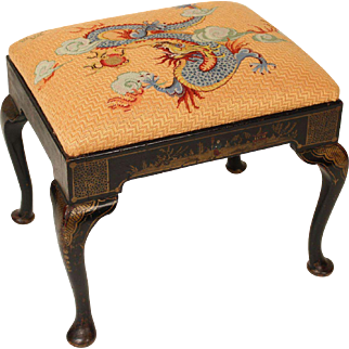 Queen Anne style chinoiserie decorated bench