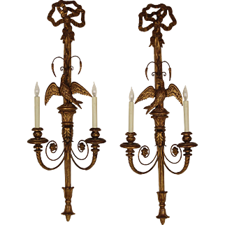 Pair of large neo classical style wall sconces