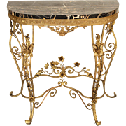 Rococo revival gilt iron console table