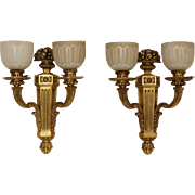 Pair of Louis XIV style gilt bronze wall sconces