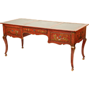 Louis XV style red chinoiserie decorated desk
