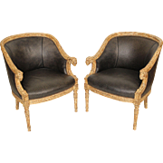 Pair of painted neo classical style bergeres