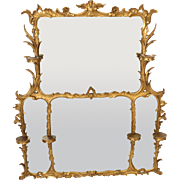 George II style gilt wood overmantle mirror.