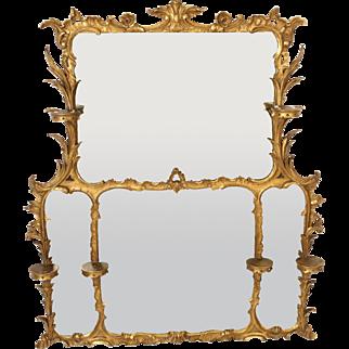 George II style gilt wood overmantle mirror.