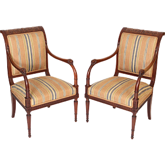 Pair of Maison Jansen neo classical armchairs