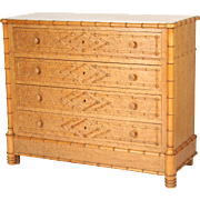 Faux bamboo marble top chest of drawers