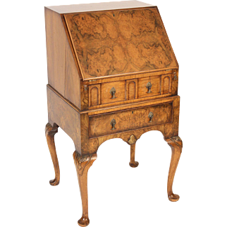 George I style burl walnut slant top desk