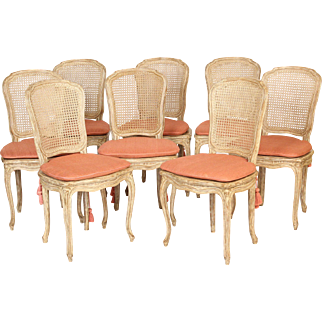 Set of 10 painted Louis XV style dining room chairs