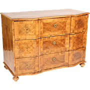 Continental burl walnut commode
