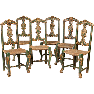 Set of 6 painted and silver leafed continental dining room chairs