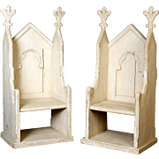 Pair of gothic revival hall chairs