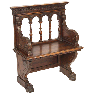 Antique baroque style walnut bench