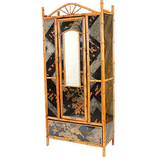Bamboo and chinoiserie decorated armoire, circa 1930.
