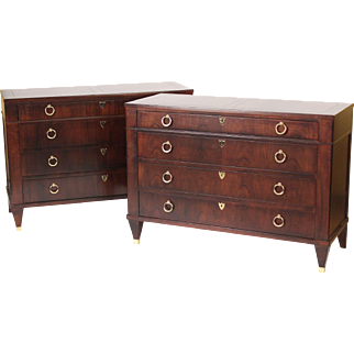 Pair of Baker Furniture Company contemporary neo classical chests of drawers