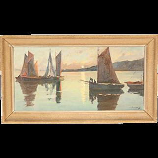 Robert Henri Fougues painting with sailboats