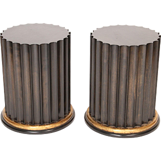 Pair of contemporary neo classical style column form occasional tables