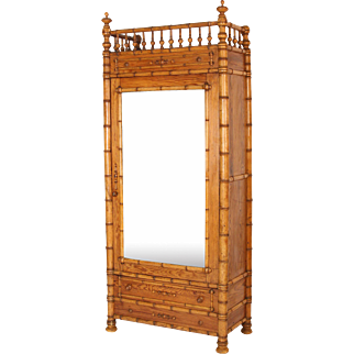 Faux bamboo and pine armoire