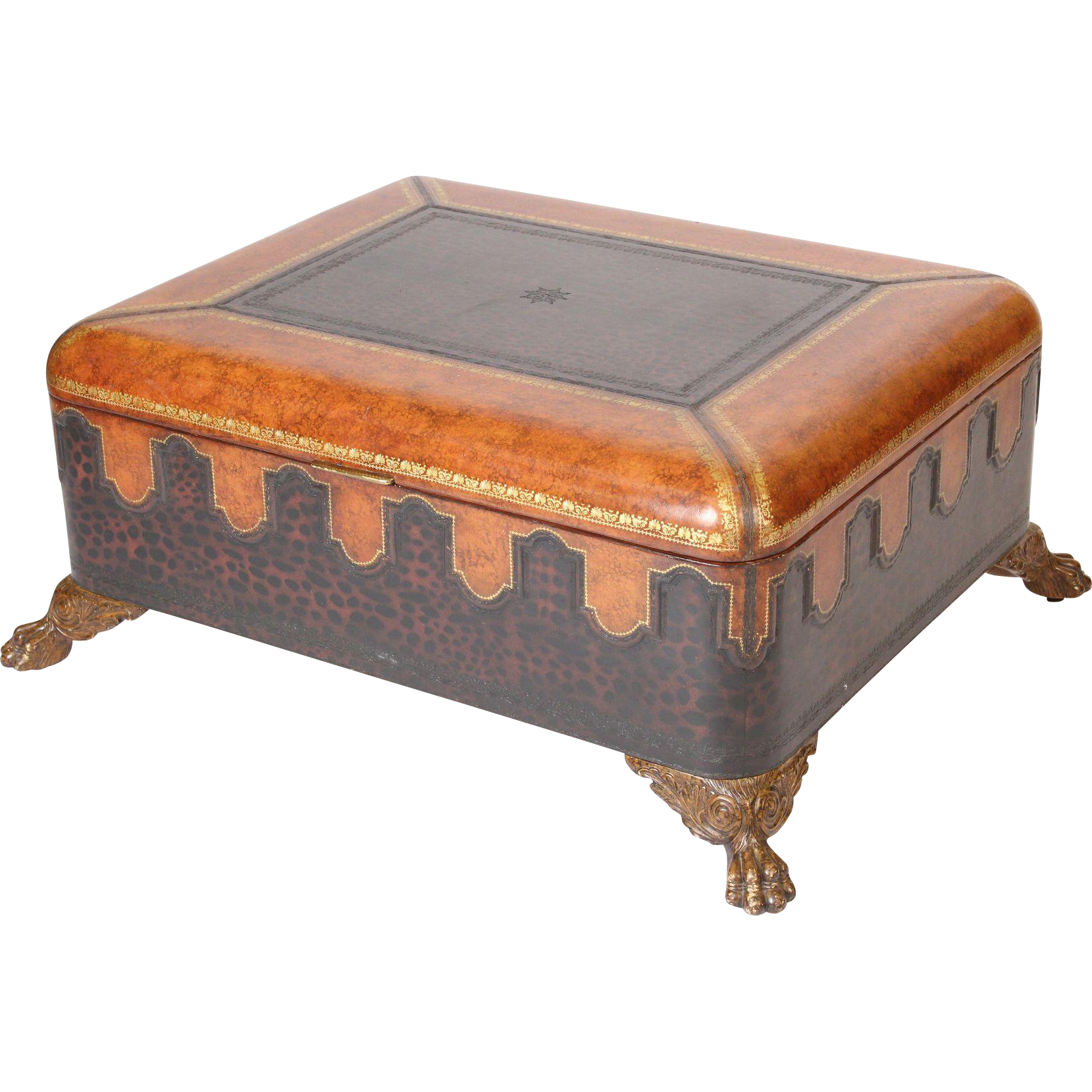 Maitland Smith Leather Coffee Table Trunk From Nicholsonsantiques On Ruby Lane