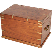 English brass mounted camphor campaign trunk